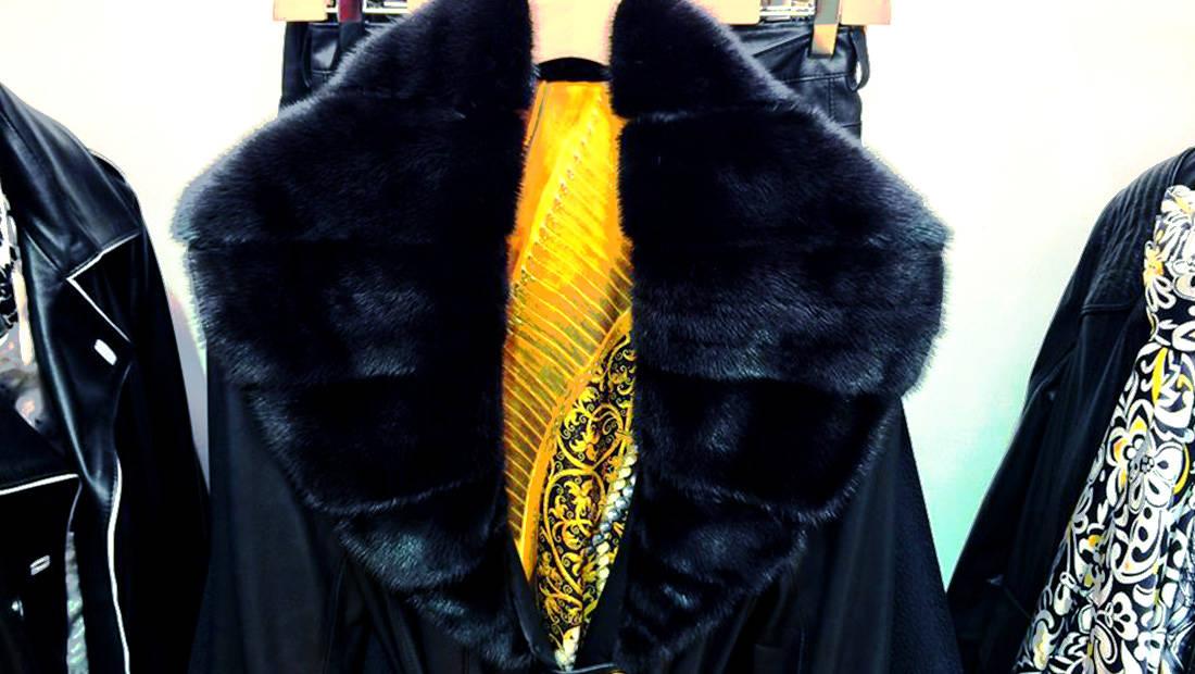 Black woman leather jacket