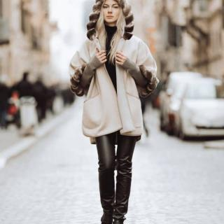 woman with a leather coat