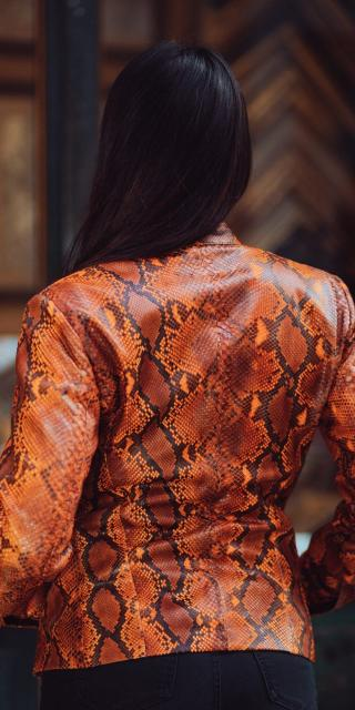 orange python leather jacket