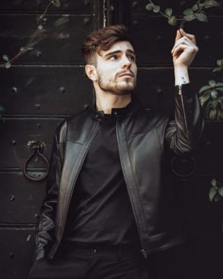 Man in a black leather jacket