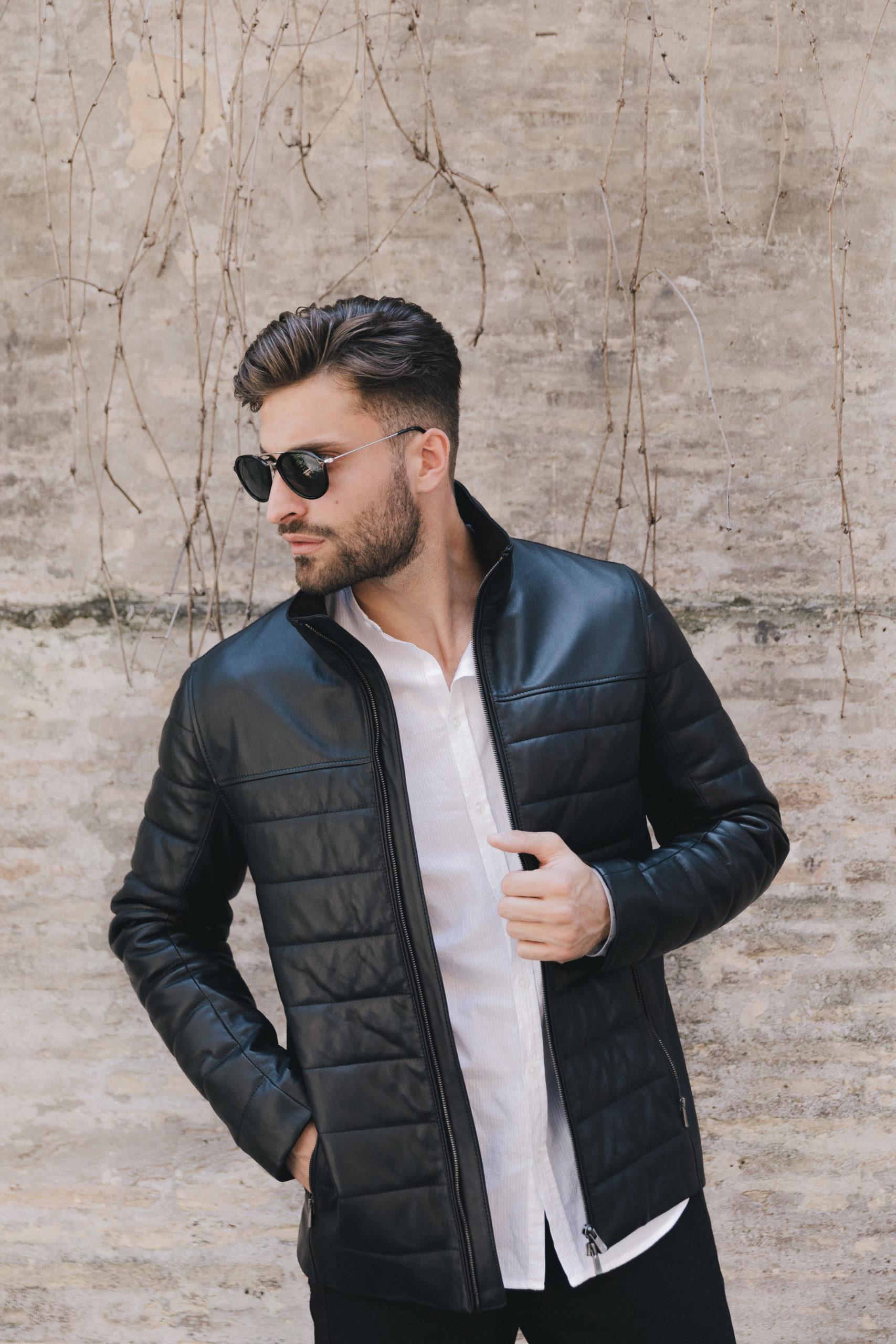 slam black leather jacket