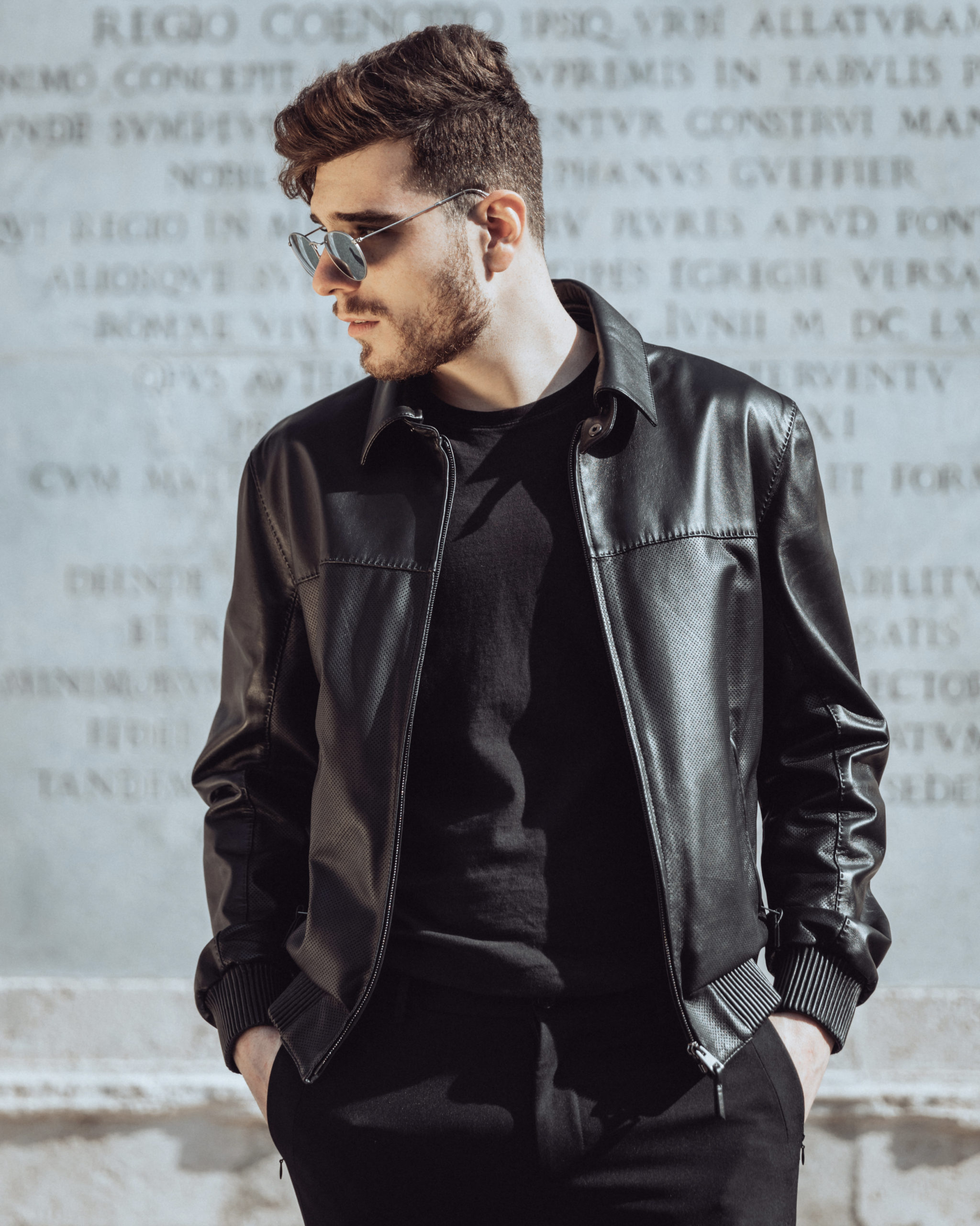 Attilio is a sport leather jacket for man, made with black nappa leather. It comes with perforated parts and elastic details. This product is available in black, brown and deep blue only  on request.