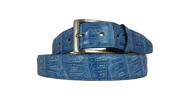 Cintura di coccodrillo parte dietro blu