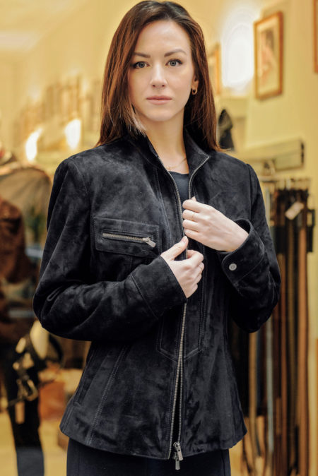 Audrey suede is a  beautiful navy blue suede sportive jacket with central zip closing, welt pockets on top with zippers. This leather jacket is fitted with a small waist. https://puntopelle.com/shop
