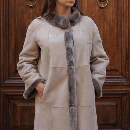Giselle cappotto di shearling reversibile