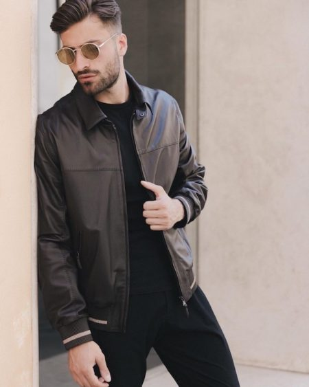 Attilio Brown - leather bomber jacket