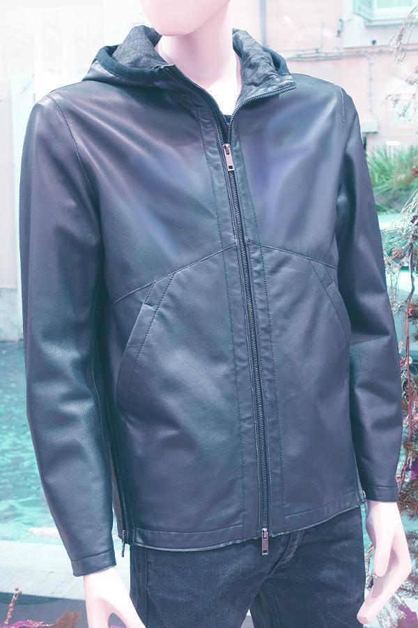 Hoody leather jacket