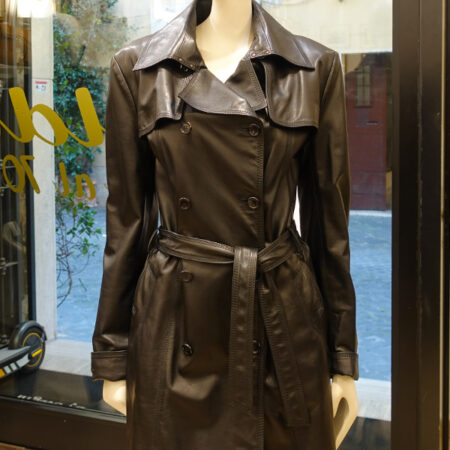 Barbara leather trench coat black front