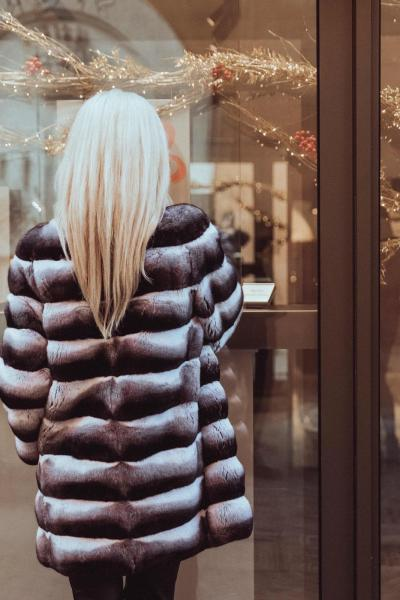 Blonde Woman with leather coat